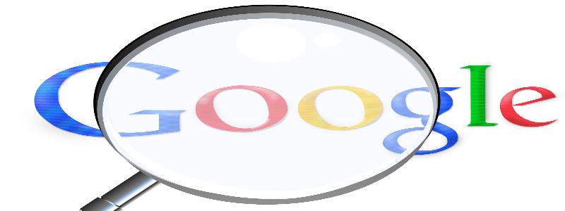 Googleマークを虫眼鏡で拡大