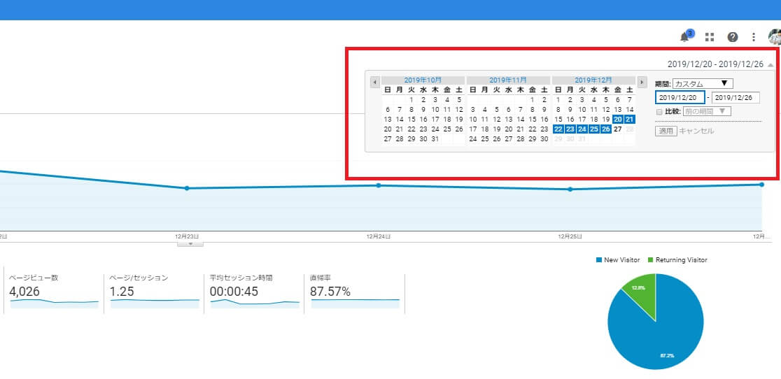 Googleアナリティクスの期間の変更