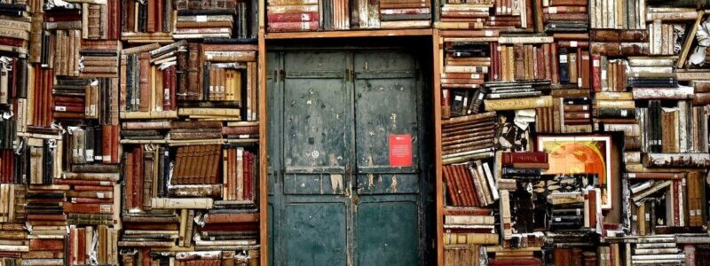 本が積み上げられた中にあるドア