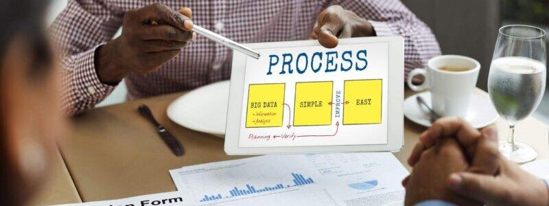 プロセスと表示されたiPadを提示して画面を指し示す男性